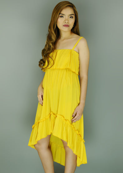 Yellow Spaghetti Layered Dress