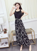 Black Spaghetti Top with Self Tie Abstract Pants