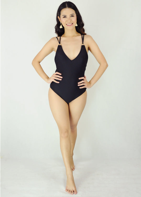 Iona One Piece Swimwear Black Spaghetti Cross Plunge V-Neck Once Piece Swimsuit Swimwear