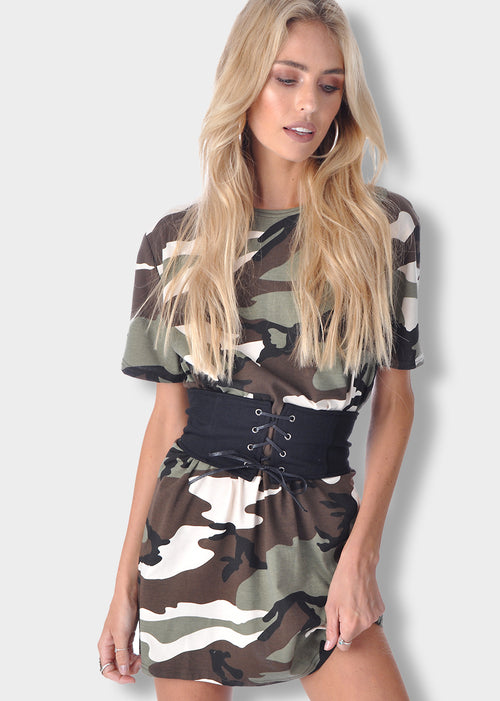 Green Camouflage Mini Dress with Corset Belt