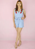 Light Denim V-Neck Rose Patched Romper