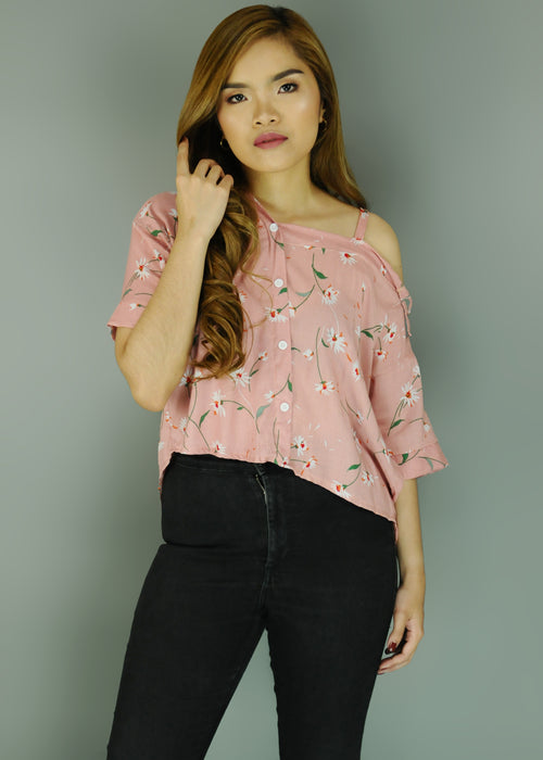 Pink Floral Side Strap Polo Sleeves Top