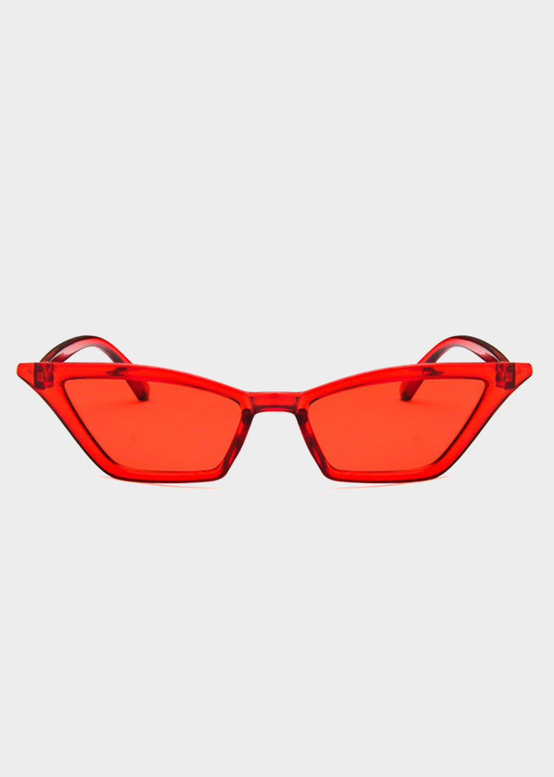 Red Tinted Small Cat Eye Sunglasses