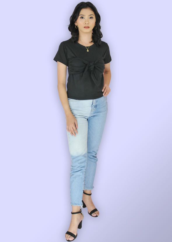 ZEALO Lexis Black Sleeves Tie Knot Front Shirt Top