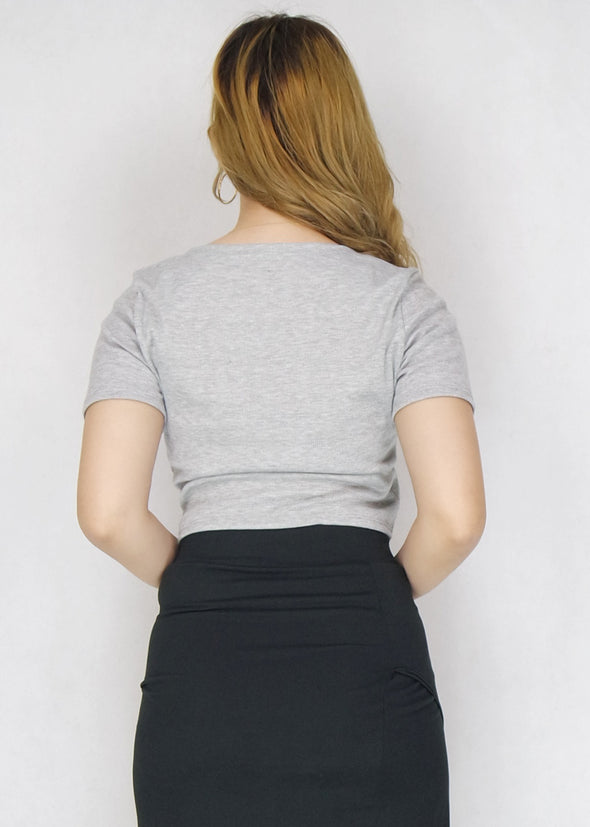 Gray Double Knotted Ribbed Top