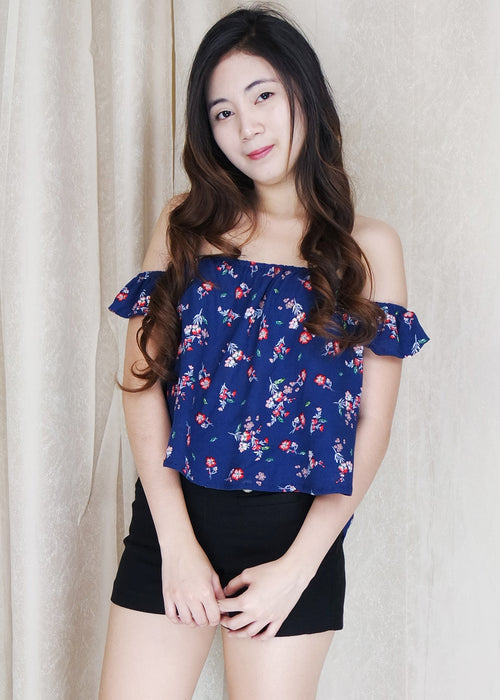 Blue Floral Off Shoulder Top