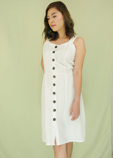 White Button Down Sleeveless Midi Dress