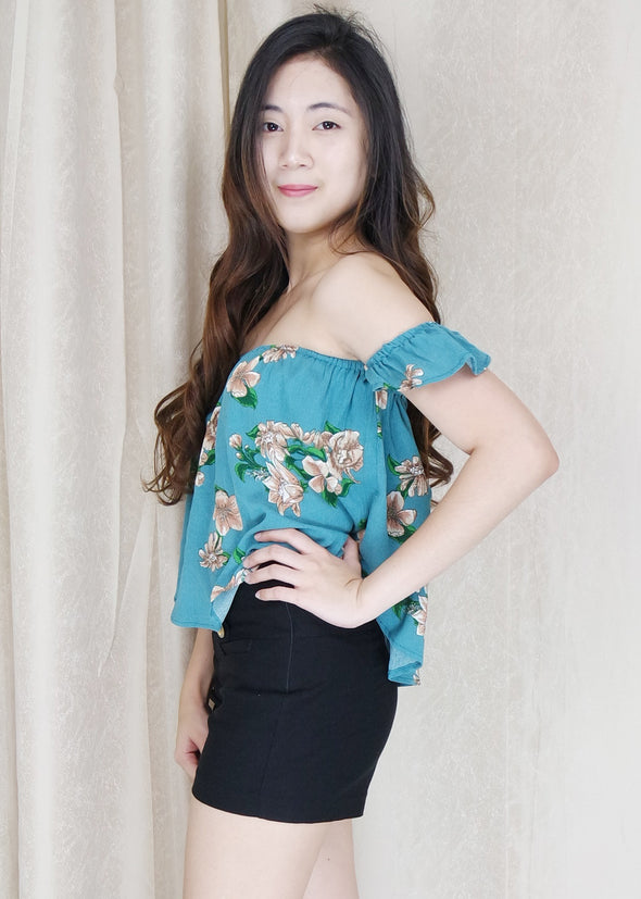 Blue Green Floral Off Shoulder Top