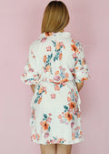White Floral Ruffle Wrap Dress