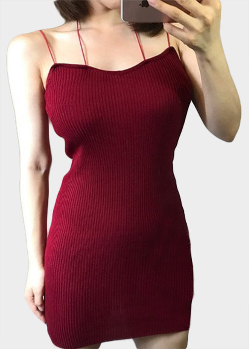 Maroon Ribbed Spaghetti Bodycon Dress