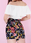 Hilary Shorts - Black Floral Self Tie Shorts