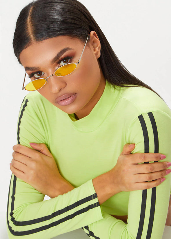 Yellow Small Lens Oval Sunglasses
