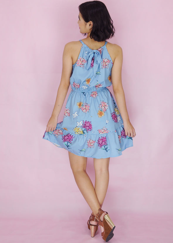 Jadyn Dress Blue Halter Floral A-Line Dress