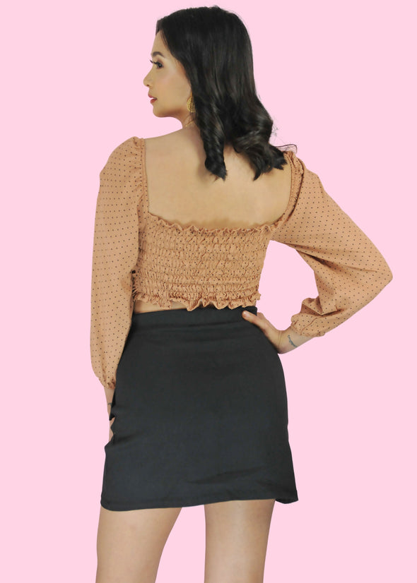 ZEALO Remi Nude Polka Dots Puff Long Sleeves Ruched Sided Top