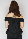 Black Embroidered Off Shoulder Peplum Top