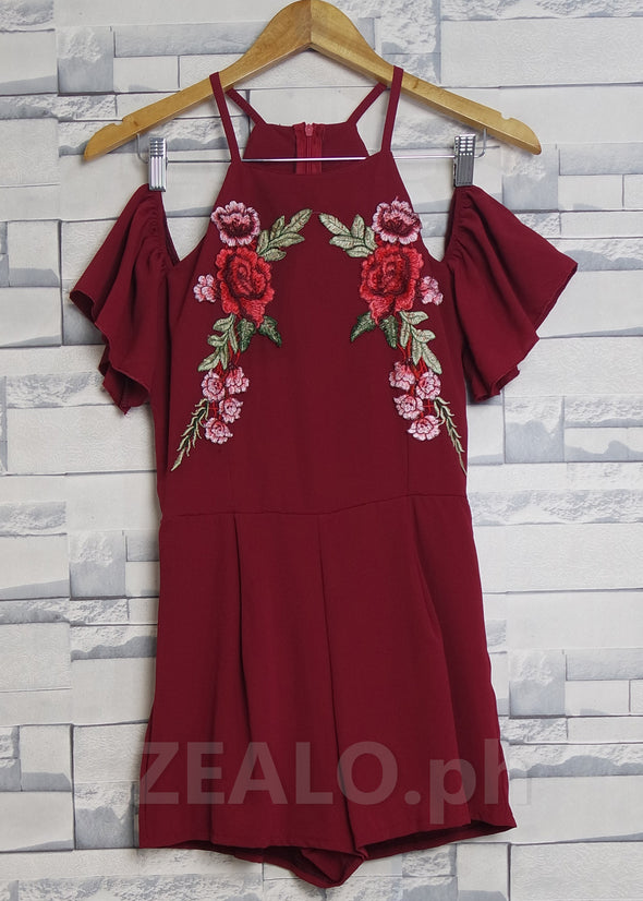 Red Embroidered Floral Romper