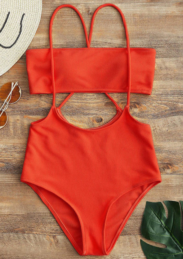 Elisha Swimwear - Red String Tube Two Piece Bikini Swimwear Swimsuit