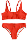 Rita Two Piece Swimwear - Red Ribbed Button Up Two Piece Bikini Swimwear Swimsuit