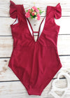 Chloe One Piece Swimwear - Red Plunge V-Neck Ruffle Sleeves One Piece Swimsuit Swimwear