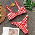 Red Gingham Tie Knot Bikini Set