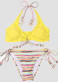 Yellow Colored Printed Drawstring Two Piece Set
