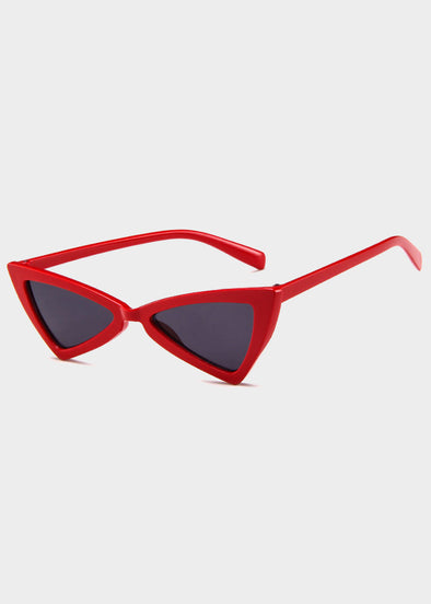 Red Tinted Triangle Cat Eye Sunglasses