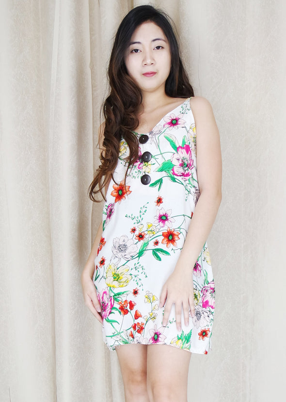 White Floral Button Summer Dress