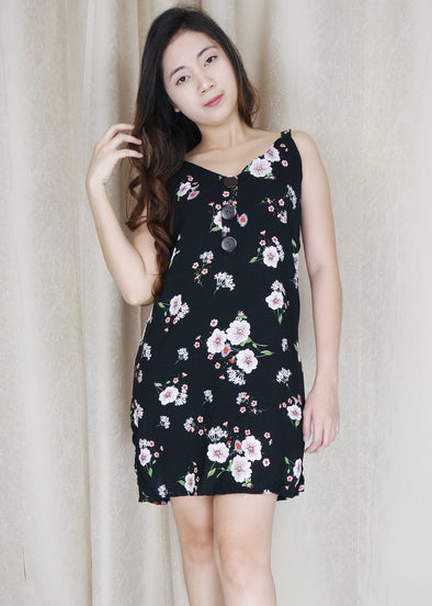 Black Floral Button Summer Dress