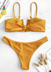 Lydia Two Piece Swimwear - Mustard V-Wired Ribbed Two Piece Swimwear Swimsuit
