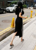 Black Hoodie Sleeves Top with Long Maxi Skirt