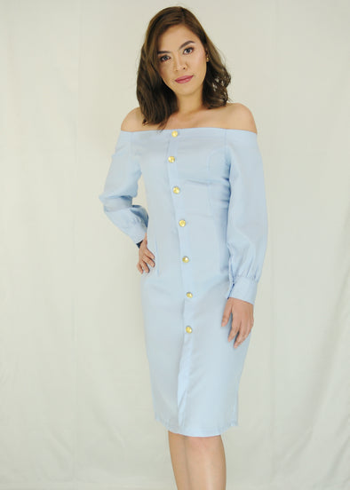 Light Blue Off Shoulder Button Down Dress