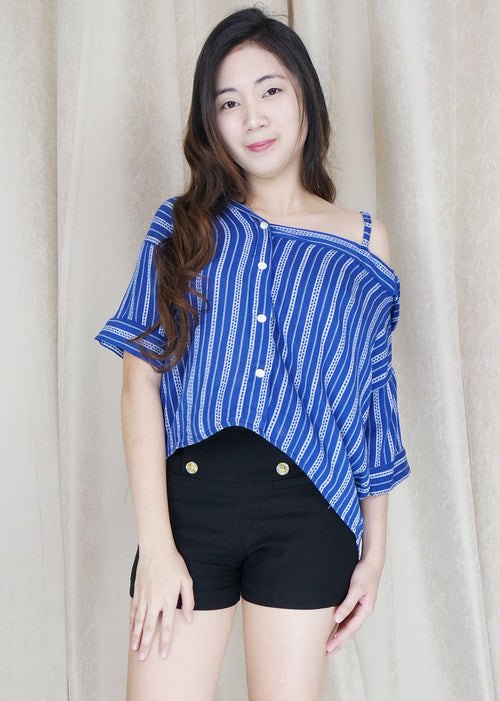 Blue Stripes Side Strap Polo Sleeves Top