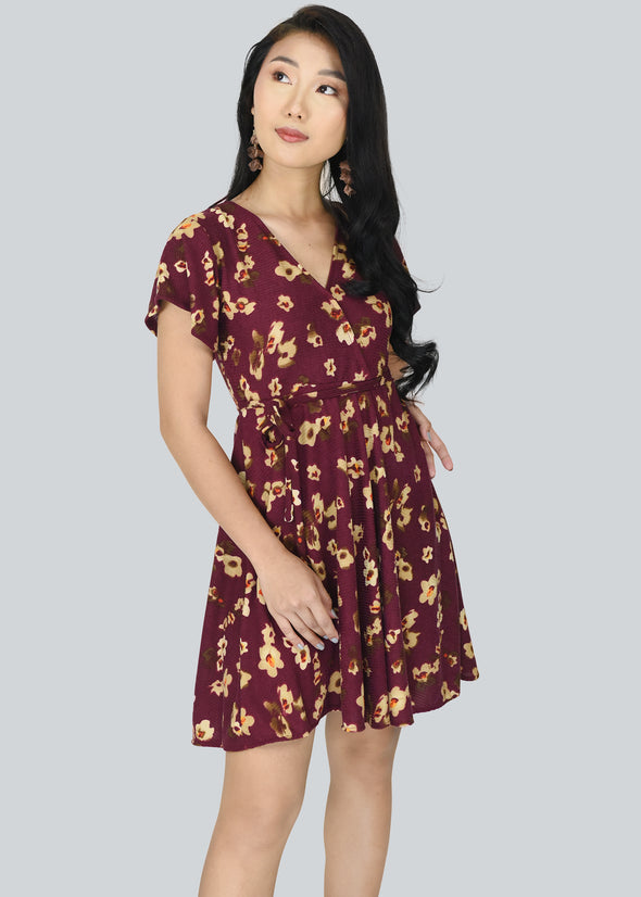 Eunice Dress - Maroon Floral