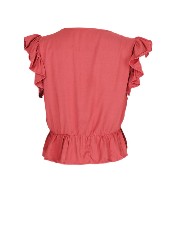 Sandra Top - Old Rose Ruffle Sleeves Buttoned Top