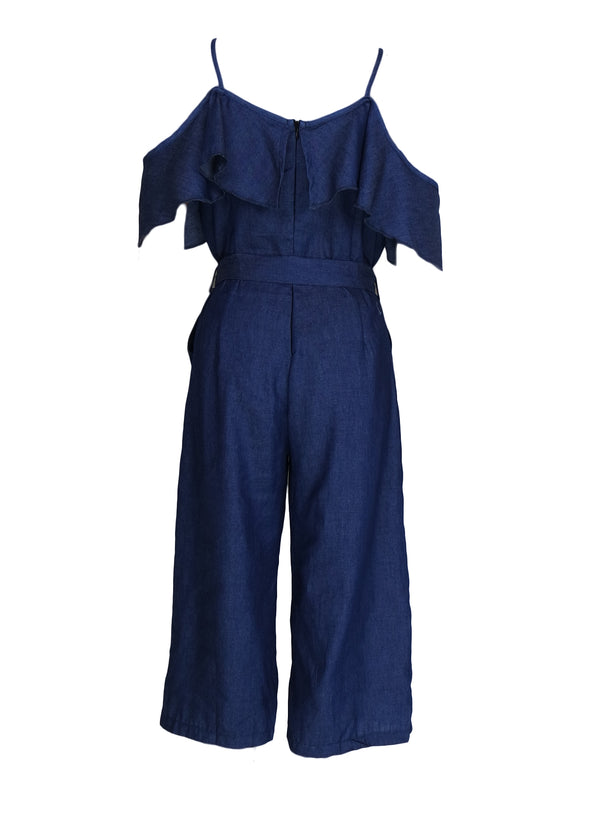 Stella Jumpsuit Blue Denim Open Shoulder Jumpsuit