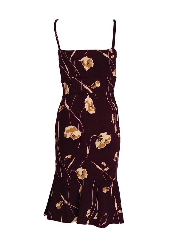 Jaylin Dress Maroon Floral Front knot Spaghetti Bodycon Dress