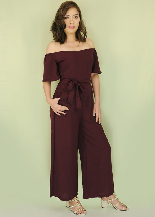 Maroon Off Shoulder Self Tie Jumpsuit