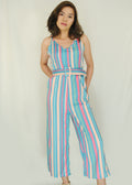 Blue Pastel Stripes Spaghetti Jumpsuit