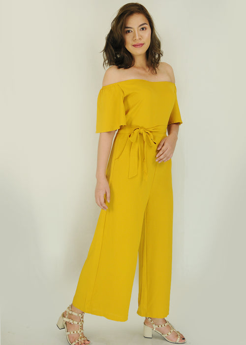 Mustard Off Shoulder Self Tie Jumpsuit