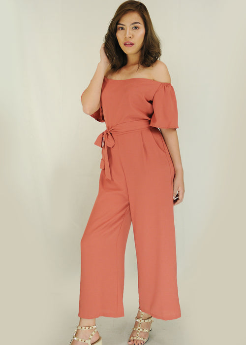 Pink Off Shoulder Self Tie Jumpsuit
