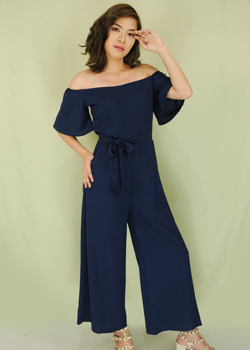 Navy Blue Off Shoulder Self Tie Jumpsuit