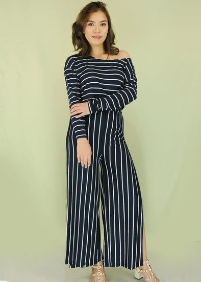 Navy Blue Stripes One Shoulder Top and Pants