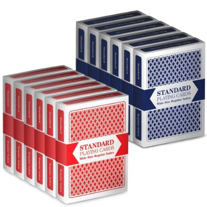 12 Decks (6 Red/6 Blue) Wide-Size, Regular Index Playing Cards