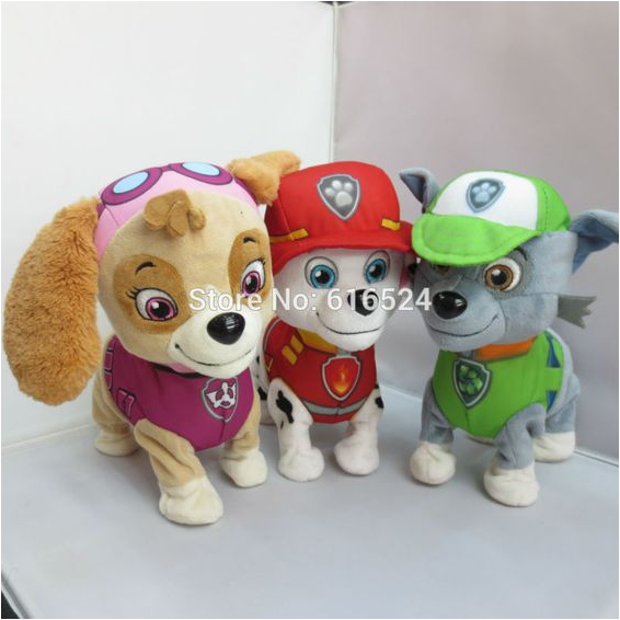 25cm large Electric Walkable Singing plush puppy patrol