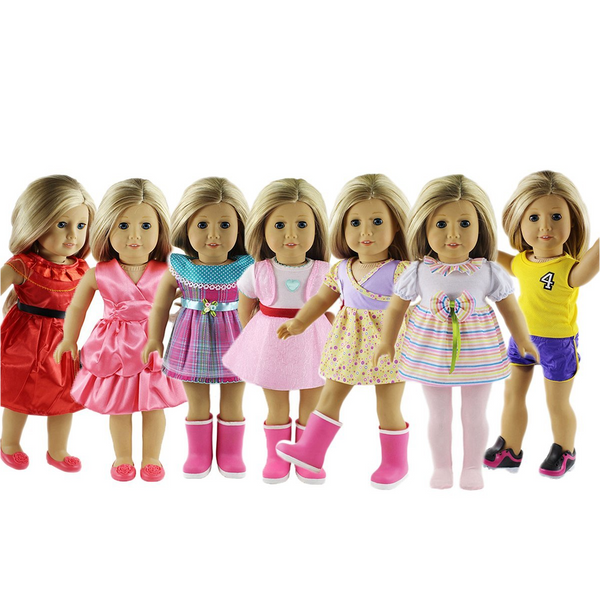 18-Inch 7 Outfits American Girl Doll Accessories