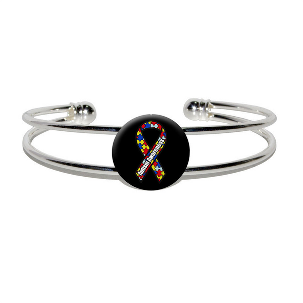 Autism Awareness Ribbon on Black - Silver Plated Metal Cuff Bangle Bracelet