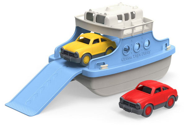 Ferry Boat with Mini Cars Bathtub Toy, Blue/White