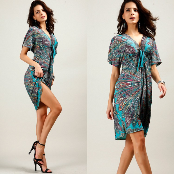 Summer Maternity Beach Dress Flower Printing V-neck Pregnancy Clothes