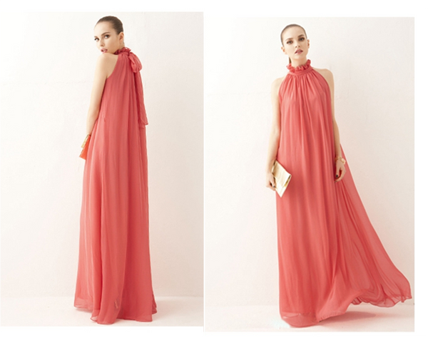 Long Chiffon Bohemian Maternity Dress