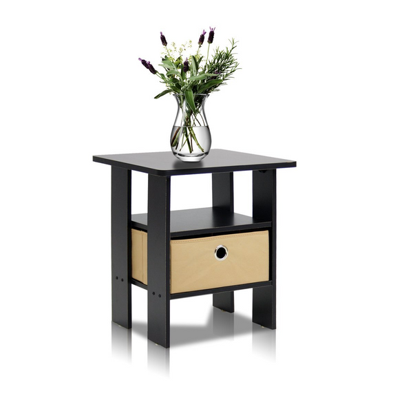 11157EX/BR End Table Bedroom Night Stand w/Bin Drawer, Espresso/Brown